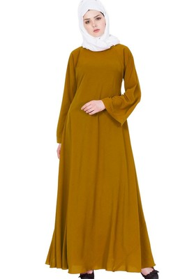 Biased Cut- Umbrella Flare Abaya- Golden Brown