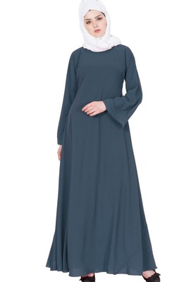 Biased Cut- Umbrella Flare Abaya- Grey