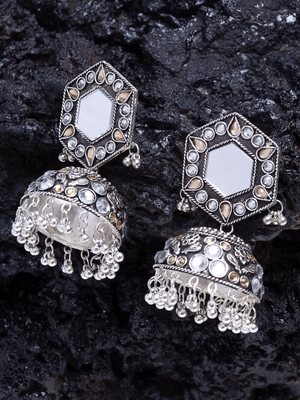 Mirror Encrusted Champagne Stone and Enamelled Silver Plated German Silver Jhumkas