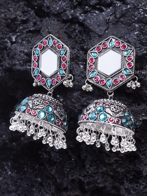 Mirror Encrusted Pink Teal Stone and Enamelled Silver Plated German Silver Jhumkas