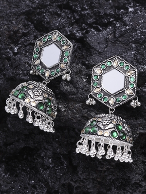 Mirror Encrusted Green Stone and Enamelled Silver Plated German Silver Jhumkas