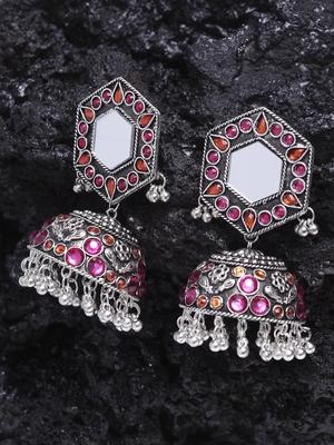 Mirror Encrusted Pink Orange Stone Enamelled Silver Plated German Silver Jhumkas