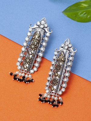 Handcrafted Black and White Pearls Stones Silver and Gold Plated Brass Drop Earrings