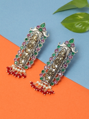 Handcrafted Red Pearls Green and Pink Stones Silver and Gold Plated Brass Drop Earrings