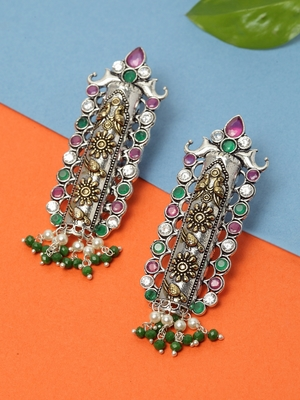 Handcrafted Green Pearls and Pink Stones Silver and Gold Plated Brass Drop Earrings