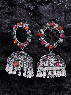 Handcrafted Multi Stone Enamelled Chandelier Design Silver Plated German Silver Jhumkas