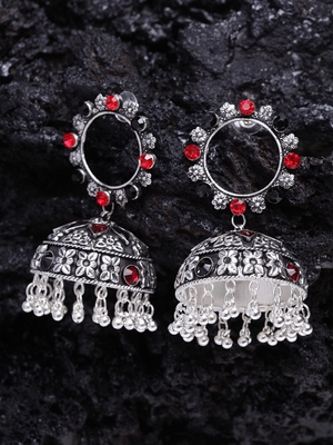 Red and Black Stone and Enamelled Chandelier Design Silver Plated German Silver Jhumkas