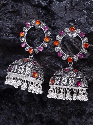Pink Orange Stone and Enamelled Chandelier Design Silver Plated German Silver Jhumkas