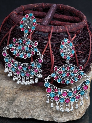 Handcrafted Pink and Teal Stone Oxidised Silver Plated German Silver Chandbalis