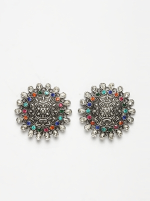 Handcrafted Multi Color Stone Oxidised Silver Plated German Silver Studs