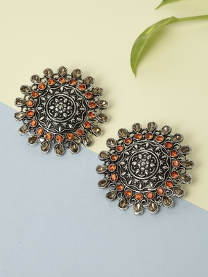 Handcrafted Champagne and Orange Stone Oxidised Silver Plated German Silver Studs