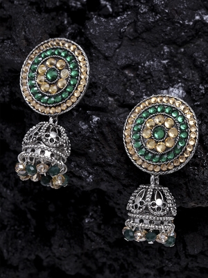 Handcrafted Champagne Green Stone Filigree Design Silver Plated German Silver Jhumkas