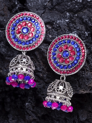 Handcrafted Pink and Blue Stone Filigree Design Silver Plated German Silver Jhumkas