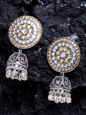 Handcrafted Champagne Stone Filigree Design Silver Plated German Silver Jhumkas