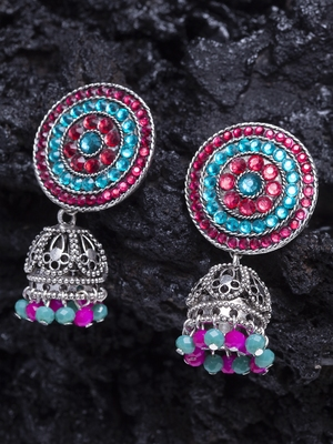 Handcrafted Pink and Teal Stone Filigree Design Silver Plated German Silver Jhumkas