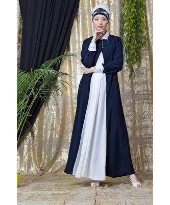 Nazneen Contrast Yoke Black/White  Casual Abaya