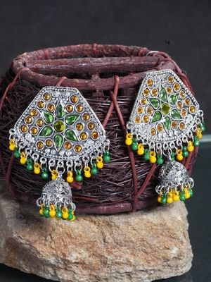 Handcrafted Yellow and Green Stone and Beads Design Silver Plated German Silver Jhumkas