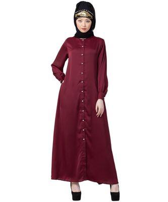 maroon Nazneen Decorative Button Front Open Nida Abaya