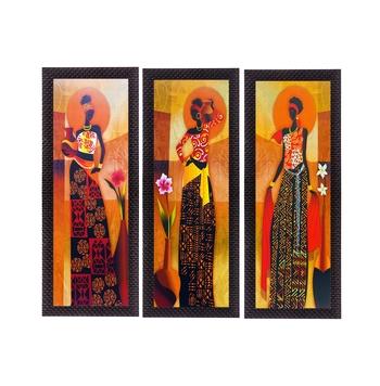 Set Of 3 Tribal Village Ladies Satin Matt Texture UV Art Painting