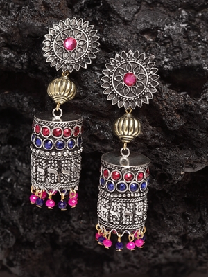Pink Blue Stone and Pearls Hanging Design Gold and Silver Plated German Silver Jhumkas