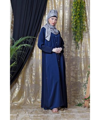 blue Nazneen Decorative Button Front Open Nida Abaya
