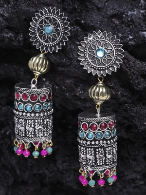 Handcrafted Pink Teal Stones Hanging Design Gold and Silver Plated German Silver Jhumkas
