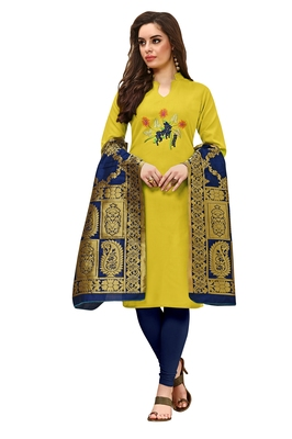 Lemon embroidered cotton salwar