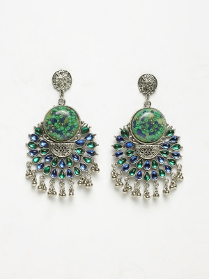 Handcrafted Green Blue Stones Enamelled Oxidised Silver Plated German Silver Chandbalis