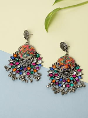 Handcrafted Multi Stones White Enamelled Oxidised Silver Plated German Silver Chandbalis