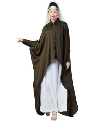 green Nazneen Front Open Shirt Kaftan With Inner Casual Abaya