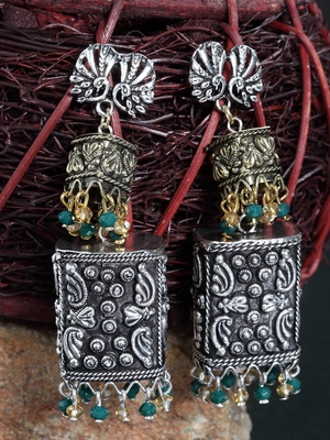 Handcrafted Champagne and Green Stones Filigree Gold and Silver Plated Brass Jhumkas