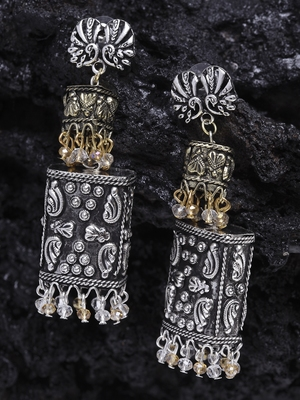 Handcrafted Champagne and White Stones Filigree Gold and Silver Plated Brass Jhumkas
