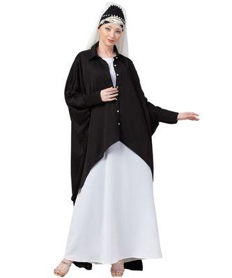 black Nazneen Front Open Shirt Kaftan With Inner Casual Abaya