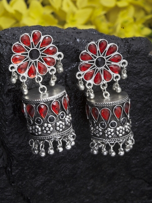 Handcrafted Black and Red Stones Enamelled Oxidised Silver Plated German Silver Jhumkas