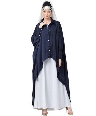 blue Nazneen Front Open Shirt Kaftan With Inner Casual Abaya