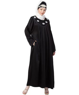 black Nazneen scallop yoke bohemian casual Abaya