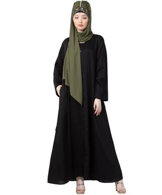 black Front Open V neck Black Nida Abaya