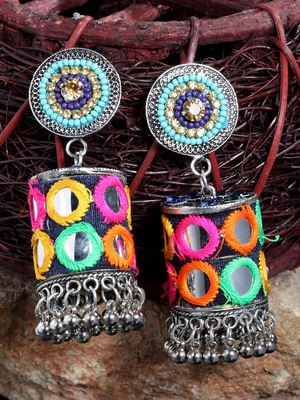 Mirror Design Blue Beads Multi Color Embroidery Silver Plated German Silver Jhumkas