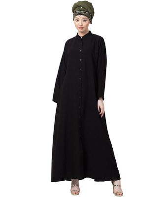 black Nazneen Front Open Chinese Collar casual Abaya