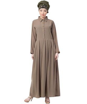 black Nazneen Contrast Piping at Sleeve Casual Abaya