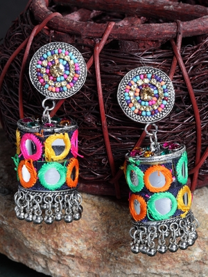 Mirror Design Multi Color Beads and Embroidery Silver Plated German Silver Jhumkas
