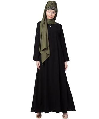 black Nazneen front placket Flare Bottom Basic Abaya