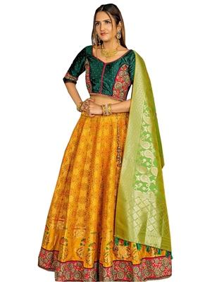 Yellow fancy  silk unstitched lehenga
