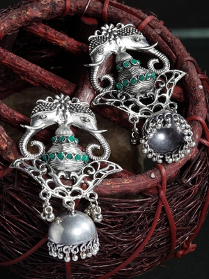 Handcrafted Green Stones Filigree Design Oxidised Silver Plated German Silver Jhumkas