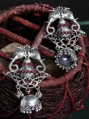 Handcrafted Red Stones Filigree Design Oxidised Silver Plated German Silver Jhumkas
