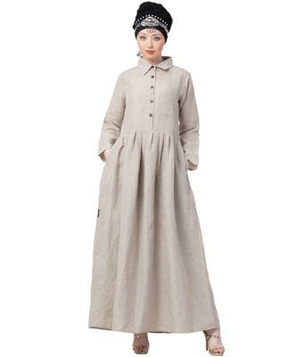 cream NAZNEEN 100% Linen shirt collar executive  Abaya