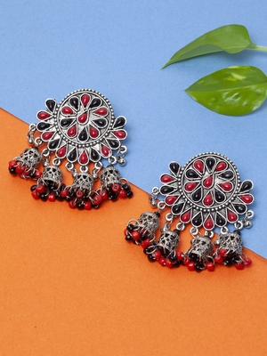 Black and Red Enamelled Hanging Jhumkis Oxidised Silver Plated German Silver Chandbalis