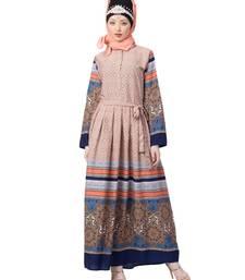 multicolor Nazneen Border Print Pleated Abaya