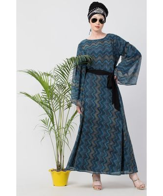 blue Nazneen Zig Zag Printed Bell Sleeve Abaya