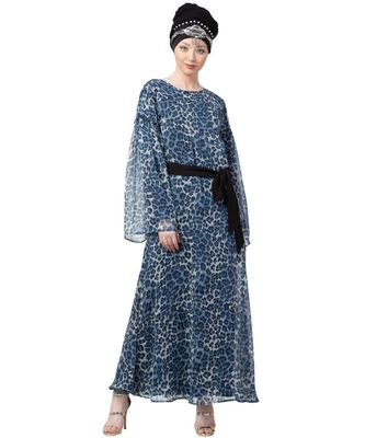 Blue Nazneen Animal Printed Bell Sleeve Casual Abaya